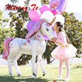 1pc 106*116cm 3D Unicorn Airwalker Foil Balloon Air or Helium support for Birthday Party wedding Decor party Supplies Kids Toys