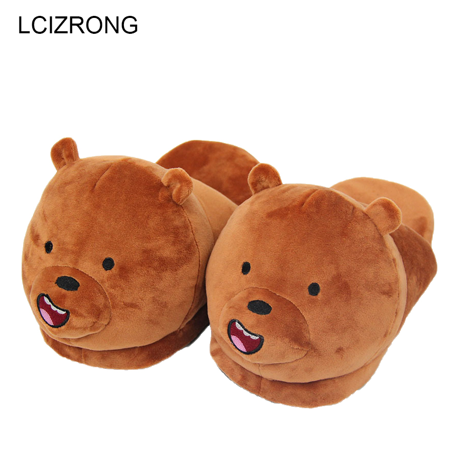 LCIZRONG Women Cartoon Bear Slippers Lovers Warm Woman Slippers Panda Anime Plush Shoes Home Female Cute Plus Size Slipper House anime home indoor slippers plush embroidered winter flock furry fluffy for women shoes rihanna house slipper unisex cartoon