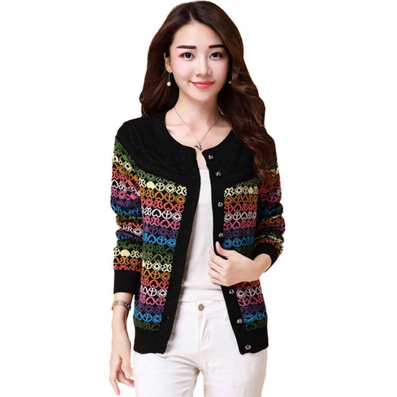 Spring Knit Women Wool Sweater Short Print Coat Loose Long sleeved Women Sweater Coat Large size