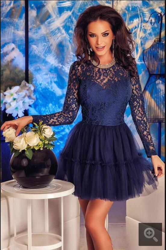 gorgeous navy blue lace short prom dress girls abiertas sexy back de manga larg