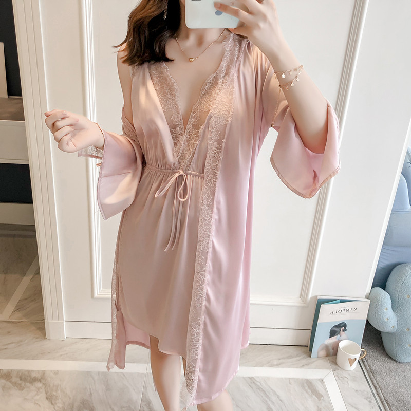 New Arrival Ladies Silk Satin Nightie With A Bathrobe Sexy Floral Sling Nightdress And Robe Casual Housecoat Set For Women