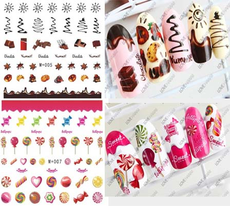 New candy sticker watermark nail stickers coffee cake watermark nail stickers nail jewelry cute cartoon font