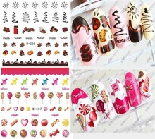 New candy sticker watermark nail stickers coffee cake watermark nail stickers nail jewelry cute cartoon food nail sticker tools