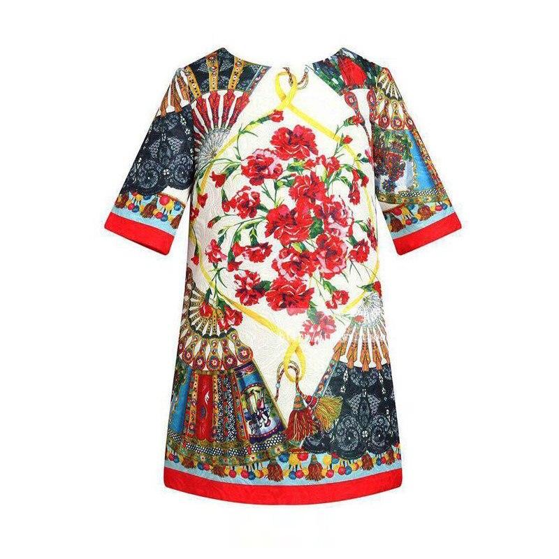 2018 Nové 2-8T dívky v etnickém stylu, poloviční rukáv, módní dětské Retro tisk princezny pro dívky, podzimní šaty, dítě