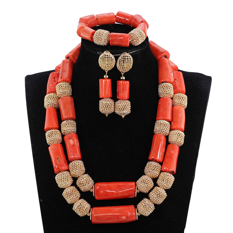 2017 Real Coral Bead Jewelry Luxury Big Coral Beads African Wedding Jewelry Set Dubai Gold Statement Bridal Necklace Set ABH7382017 Real Coral Bead Jewelry Luxury Big Coral Beads African Wedding Jewelry Set Dubai Gold Statement Bridal Necklace Set ABH738