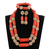 2017 Real Coral Bead Jewelry Luxury Big Coral Beads African Wedding Jewelry Set Dubai Gold Statement Bridal Necklace Set ABH738