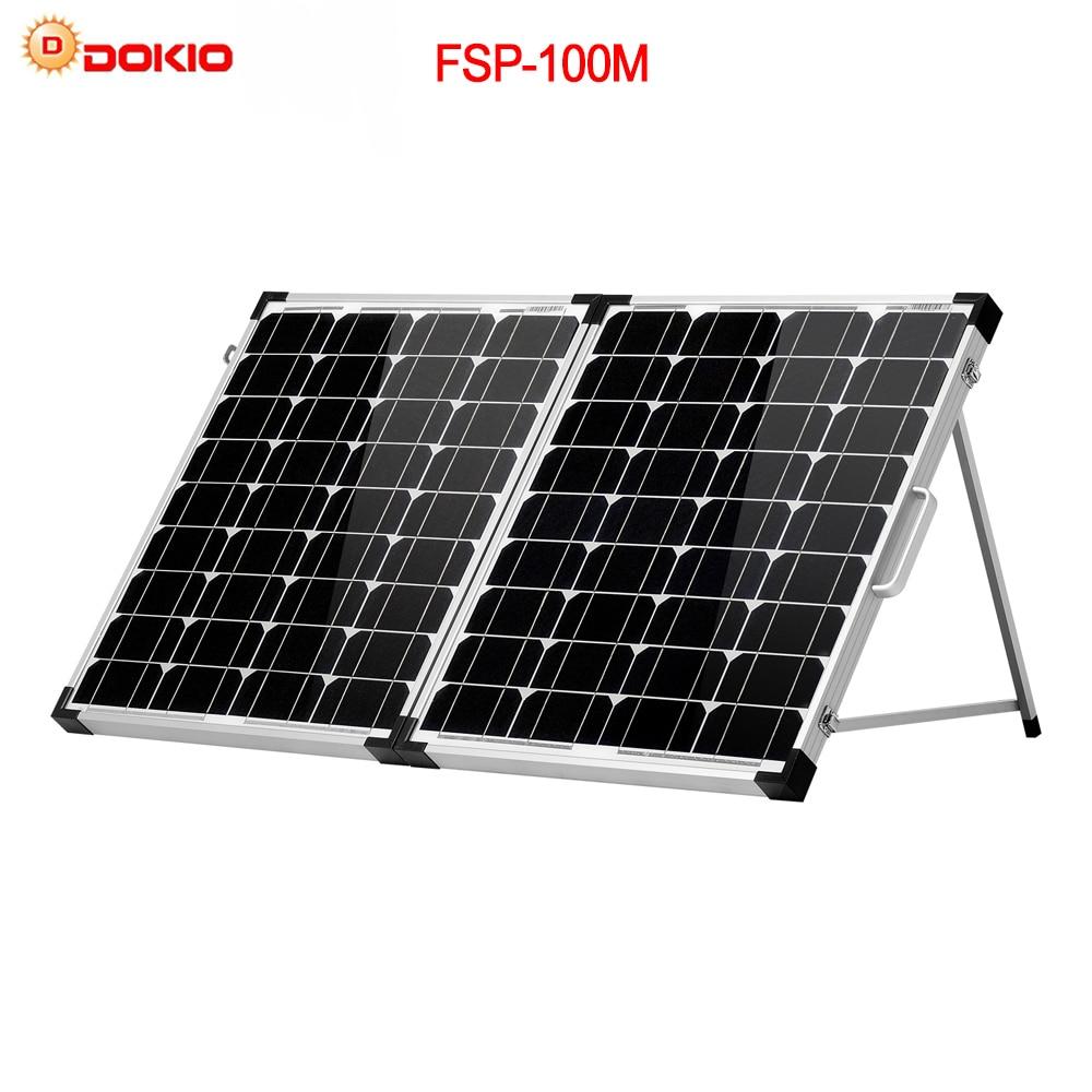 Dokio Marque 100 w (2 pcs x 50 w) pliable Panneau Solaire Chine 18 v + 10A 12 v/24 v Contrôleur Solaire Batterie Cellulaire/Module/ système Chargeur