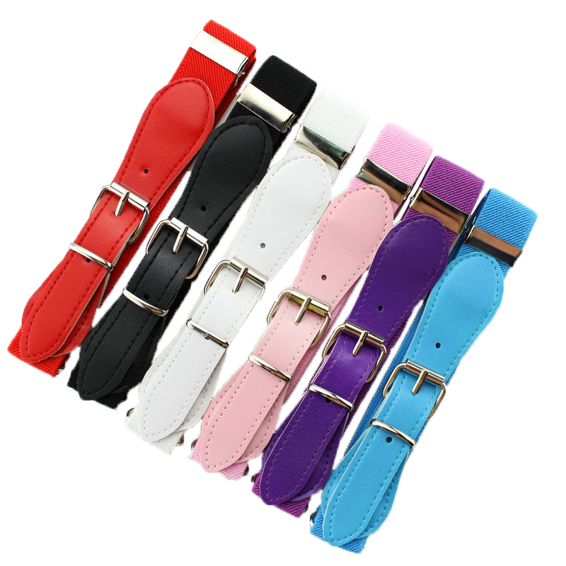 Retail new 2016 fashion Candy Color 1 Inch Wide Kids/Children Elastic Waist Belt For Boys/Girls