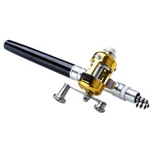 Pocket Portable Telescopic Mini Fishing Pole Aluminum Alloy Pen Shape Rod With Reel Wheel 6 Colors TX01