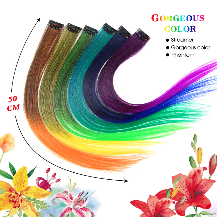 AliLeader Made 57 Colors 50CM Single Clip In One Piece Hair Extensions Synthetic Long Straight Ombre Grey Red Rainbow Hair Piece 5
