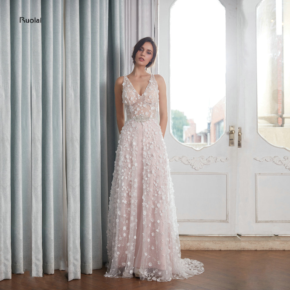 Gorgeous   Evening     Dresses   Long 2018 V Neck Glitter Lace   Evening   Gown For Women Wedding Party   Dresses   Open Back robe de soiree