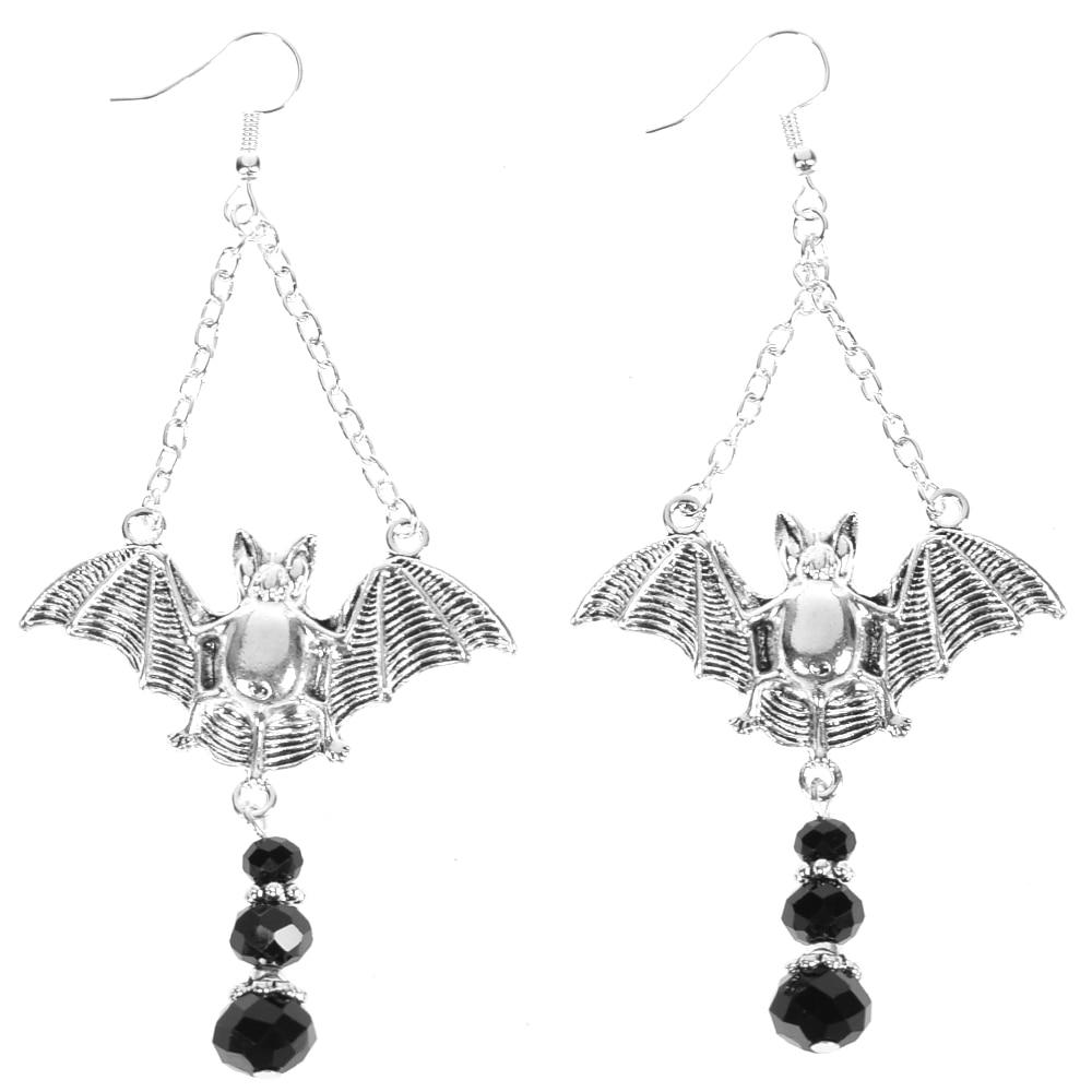Fashion Jewelry Raven Skull Dangle Earrings Antiqued Bronze Crow Jewelry Gothic Odin Drops Earrings