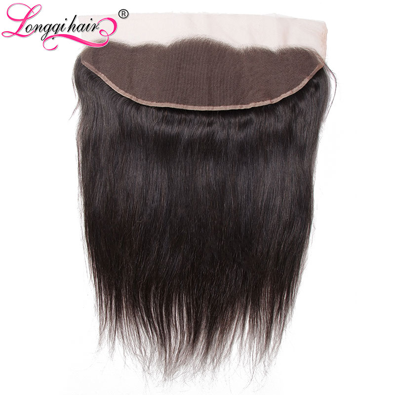 Longqi Hair Peruvian Straight Lace Frontal losure Free Part 13 x4 Ear to Ear Swiss Lace