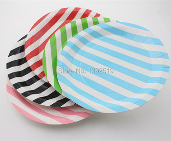 Free Shipping 80pcs 23cm paper plates Striped Colorful Paper Plate Mixed of 5 Colors Party Supplies Wedding Birthday Favor