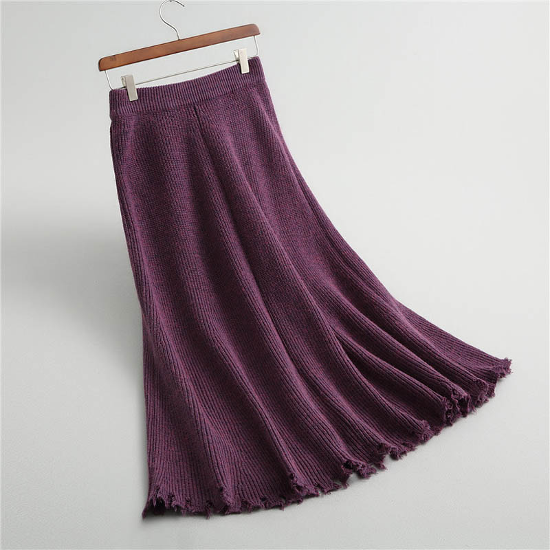All purple ivory Picture Bottom Skirt Picture Knitted Casual Ripped Long Women as Dark Match Edge Warm Color Rough Solid Saias Skirts J331 Winter Grey Chic Sweater as OAwqxp