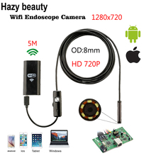 8mm 5M Wireless Wifi Endoscope Android Camera Borescope HD 1280 * 720 IP67 Waterproof Inspection IOS Iphone Endoscope Camera