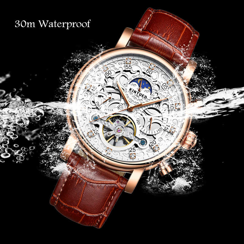 KINYUED Skeleton Automatische Uhr Männer Sonne Mond Phase Wasserdicht Herren Tourbillon Mechanische Uhren Top-marke Luxus Armbanduhren