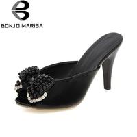 BONJOMARISA 2018 New Large Size 33 42 Peep Toe Bowtie Slip On Women Pumps Woman Thin
