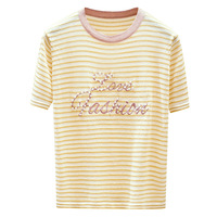 Summer 2019 Striped T Shirt for women short sleeve Tops tee Pullover knitted female casual Love Fahion embroidery lurex top