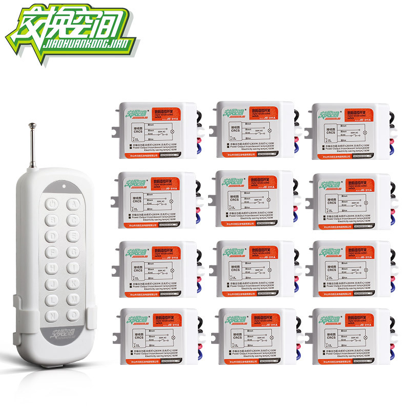 JD211A1N12 With 12 Receivers 12 Ch RF Wireless Remote Control Switch 220V 110V Remote control jd211a1n5 top rating 5 channel switch rf wireless remote control light switch five digital receivers 110v and 220v
