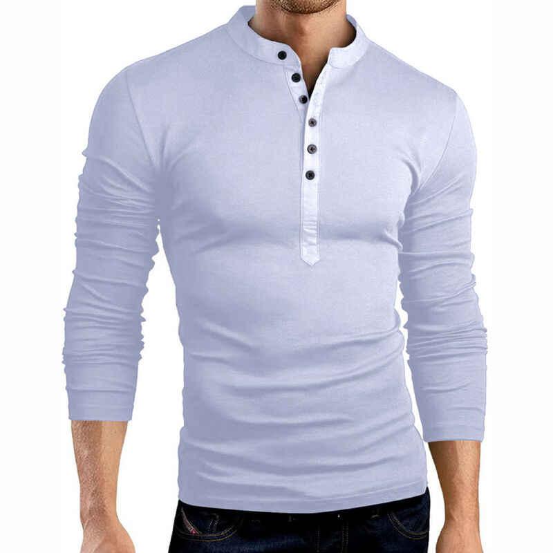 가을 2019 남자 용감한 영혼 슬림 피트 긴 소매 티셔츠 코튼 버튼 할아버지 칼라 오프 화이트 탑스 헨리 셔츠 플러스 사이즈