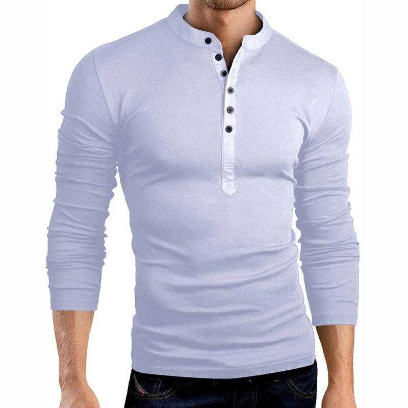 Mens Casual Slim Fit Long Sleeve Polo-shirt Henley Botton up T Shirt Tops Shirts