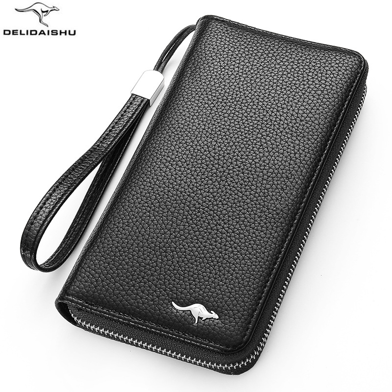 Brand kangaroo Men wallet high quality zipper wallets with strap fashion mens long card purse clutch phone bag for maleBrand kangaroo Men wallet high quality zipper wallets with strap fashion mens long card purse clutch phone bag for male
