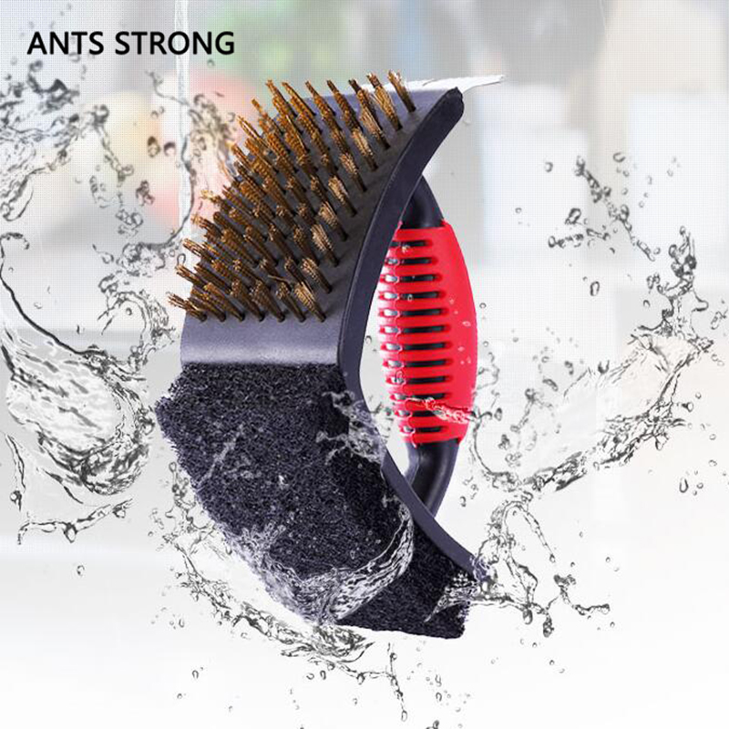 ANTS STRONG 3 in 1 grill BBQ cleaning brush/outdoor home barbecue grill copper wire brush cleaning accessories tools