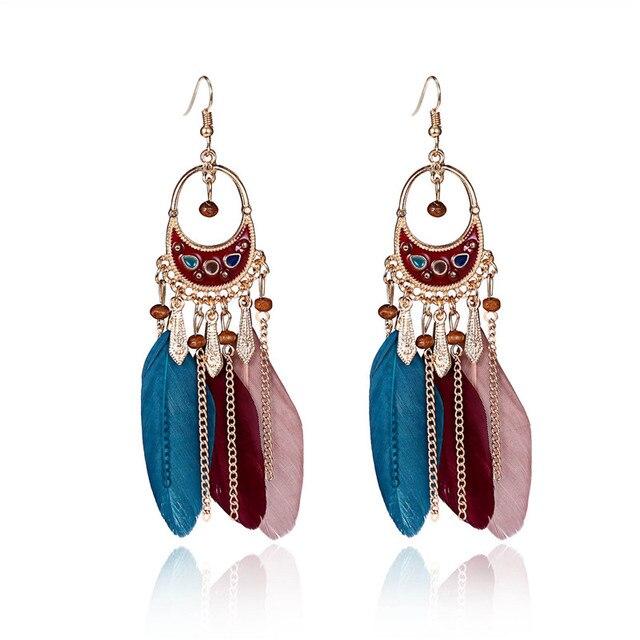 Tassel Dangle Feather Earrings