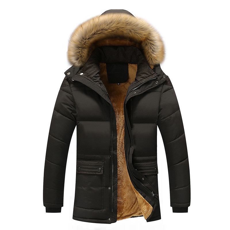 Fashion Winter Mens Jacket Parka Coat Thicken Warm Men Clothing Male Zipper Fur Collar Overcoat With Pockets M-4XL