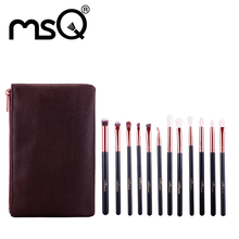 MSQ 12 unids Profesional Sombra de Ojos Maquillaje Pinceles Set de Oro Rosa Alminium Casquillo Animal y Pelo Sintético Con Estuche De Cuero PU