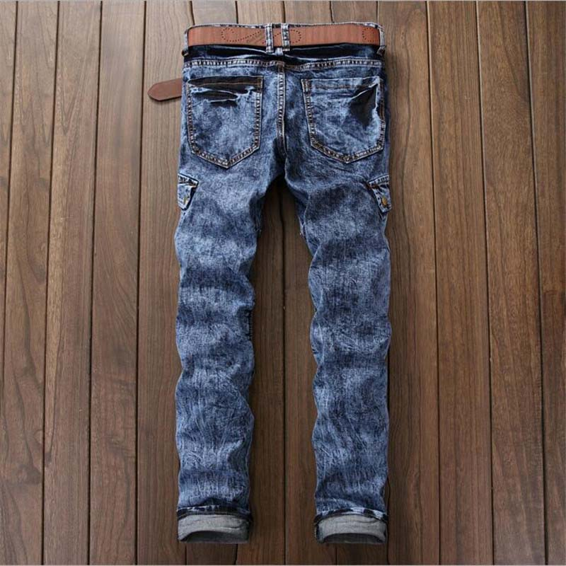 Newsosoo 2018 Hi-street Men\'s Denim Jeans Motorcycle Slim Fit Casual Washed Jeans Pants Male Fashion Trousers (3)