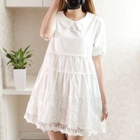 High Quality Whole White Cotton Lace Flower Vine Embroidery Summer Short Sleeve One Piece Dress Mori