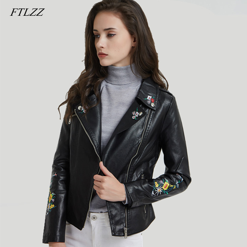 FTLZZ Print Embroidery Pu   Leather   Jacket Women Coat Casual Floral Faux   Leather   Biker Motorcycle Short Coats Outerwear