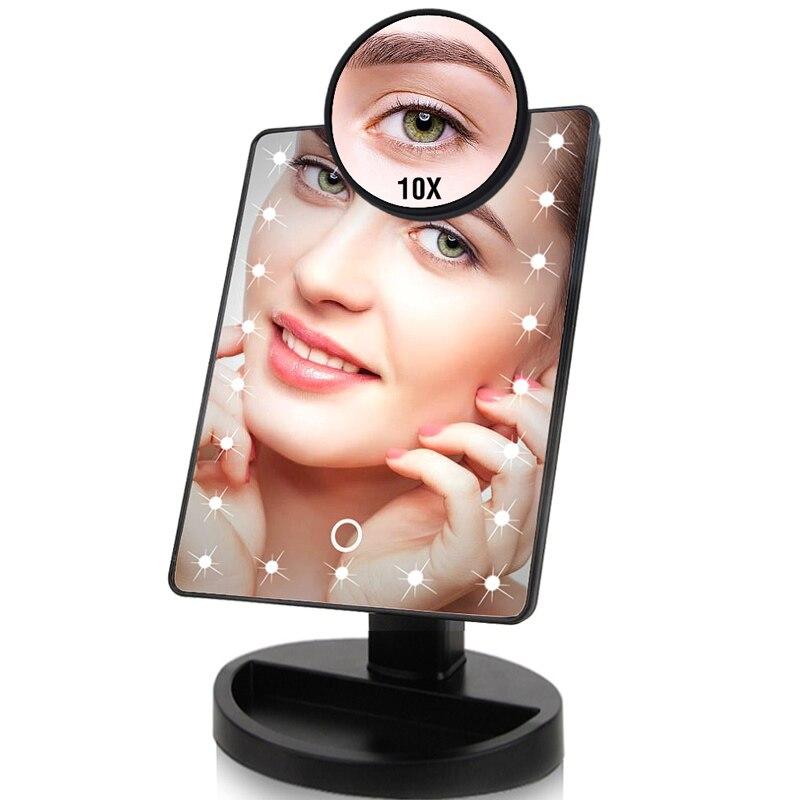 22 luces LED pantalla táctil espejo de maquillaje 1X 10X mesa escritorio encimera brillante Cable USB ajustable baterías o usar 16 luces