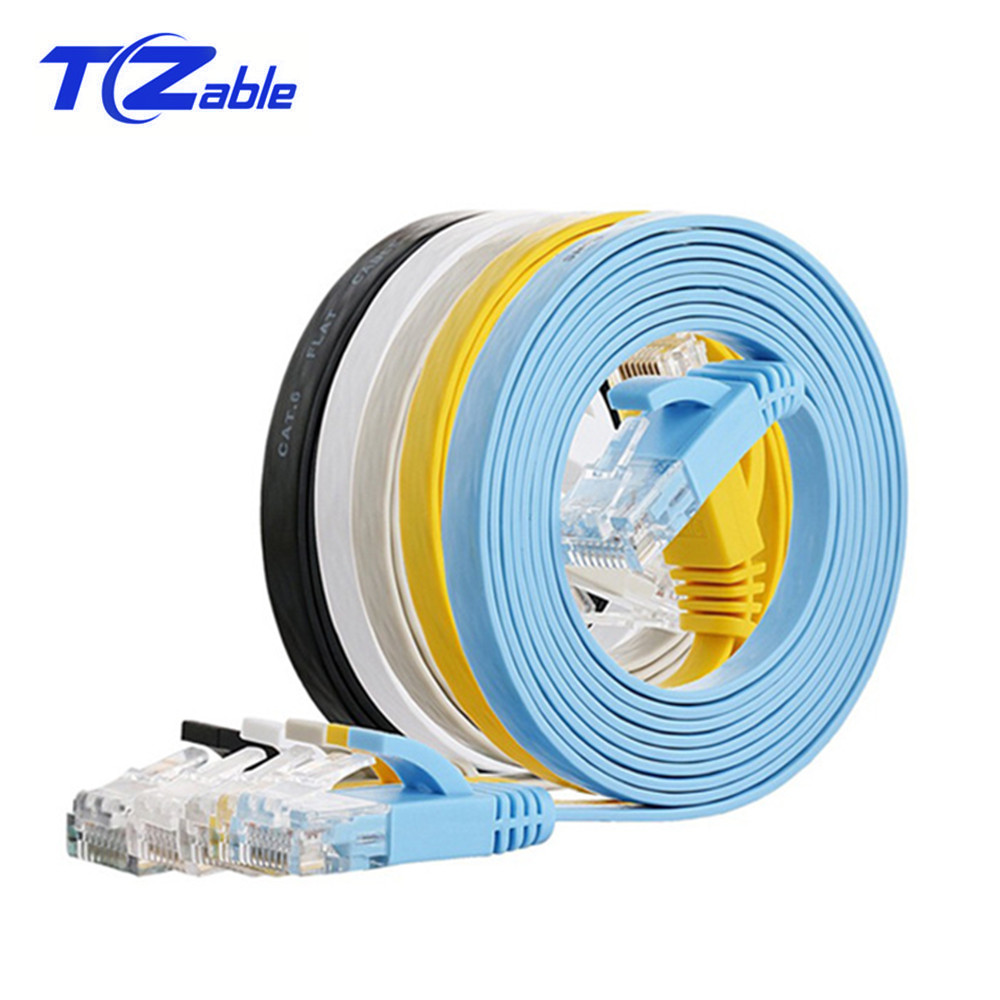 CAT6 RJ45 Flat Ethernet Cable Twisted Pair 1m 2m 3m 10m 20m Computer Network Cable Cat6 For ADSL HUB Camera Router ATM UTP Cable