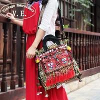 Vintage Embroidery Women Shoulder Bag Ethnic Thailand Original Canvas Tassel Messenger Bags Travel Tote Handbag Bolsa