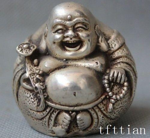 중국 불교 흰색 구리 행복 웃음 미 tre 부처님 ruyi 행운의 동상 장식