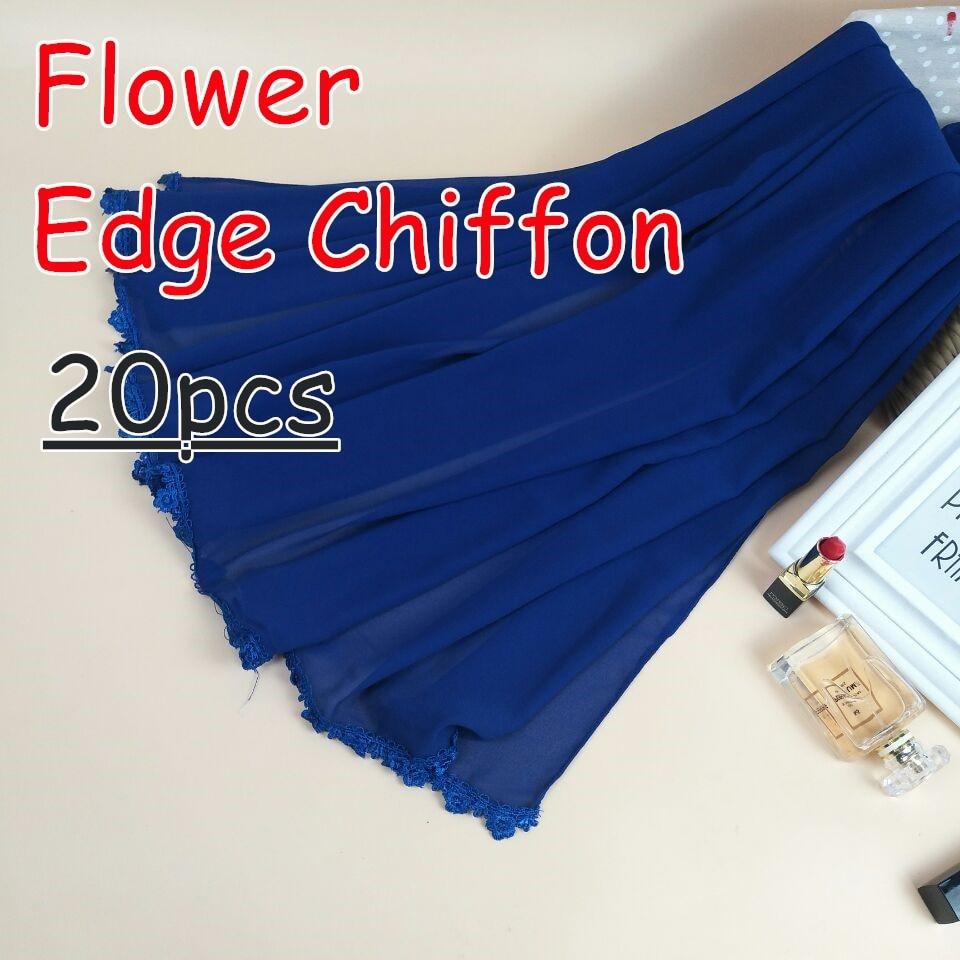 J4 High quality flower edge chiffon hijab lady long shawls scarves scarf 180 75cm 20pcs lot
