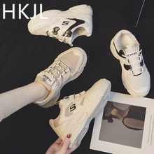 HKJL Shoes women 2016 new Korean version of the net cloth platform with a thick bottom with sneakers women fashion A611 platform fee of www 19gps net