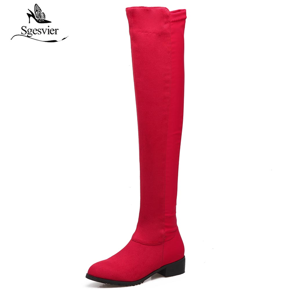 Sgesvier Autumn Winter Long Boots Round Toe Over The Knee Boots Thick Heel Zipper Elastic Boots Thigh High Boots Shoe Woman B408