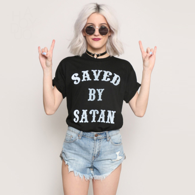 SAVED BY SATAN printed t shirts womens cotton black slogan tees ladies casual loose t shirts summer short sleeve oversized tops