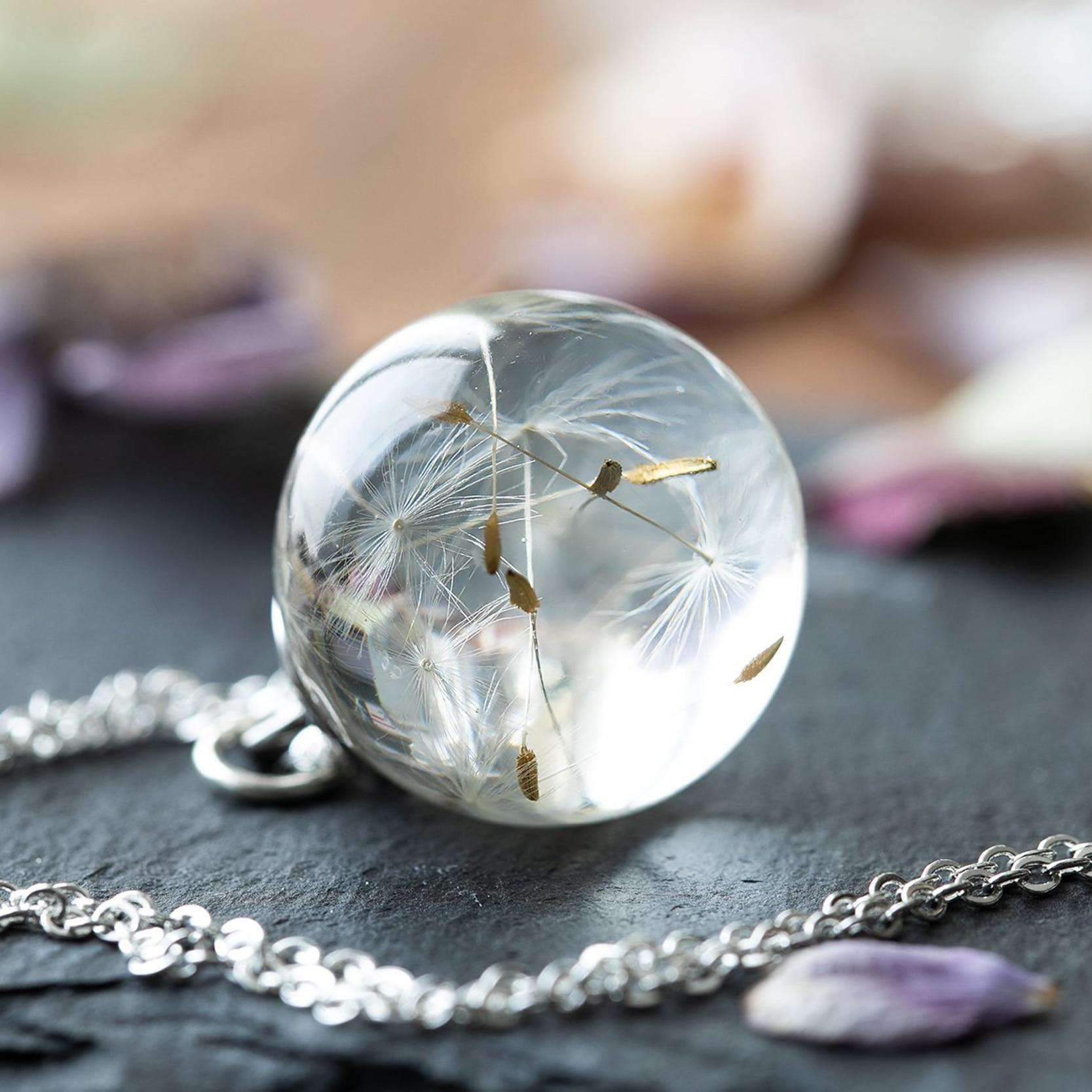 Одуванчик, желающее ожерелье, настоящие семена одуванчика в прозрачном хрустальном шарике, подвеска, ожерелье ручной работы, подарок для не...