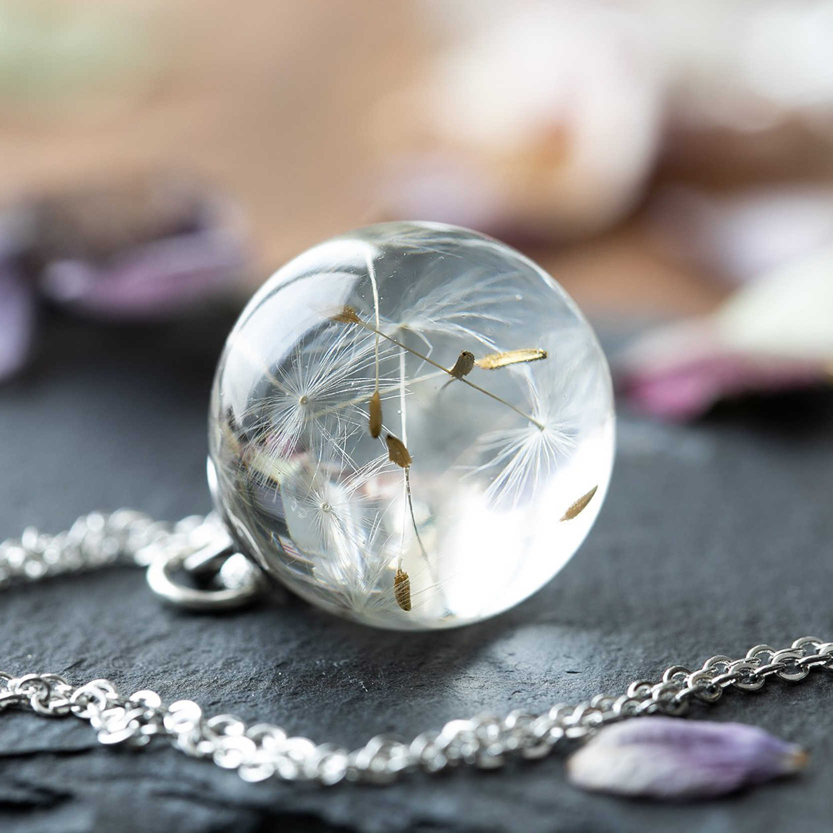 Dandelion desejando colar verdadeiro dandelion sementes em cristal claro bola pingente colar artesanal presente para ela