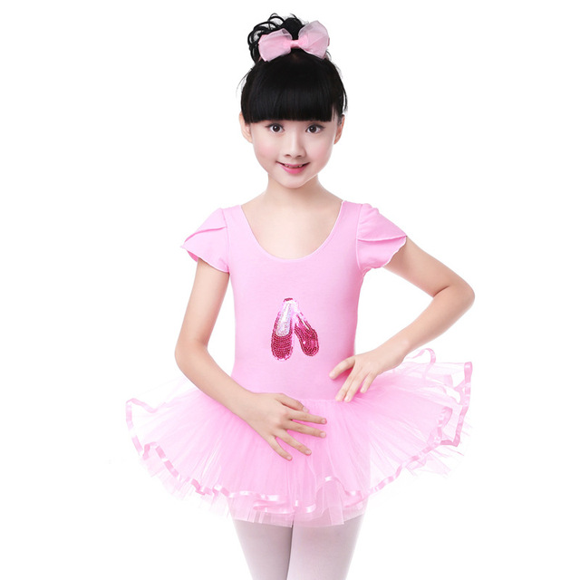 b1818fa67280 Short Sleeve Ballet Dress Girl Kids Ballerina Children Clothes Pink ...