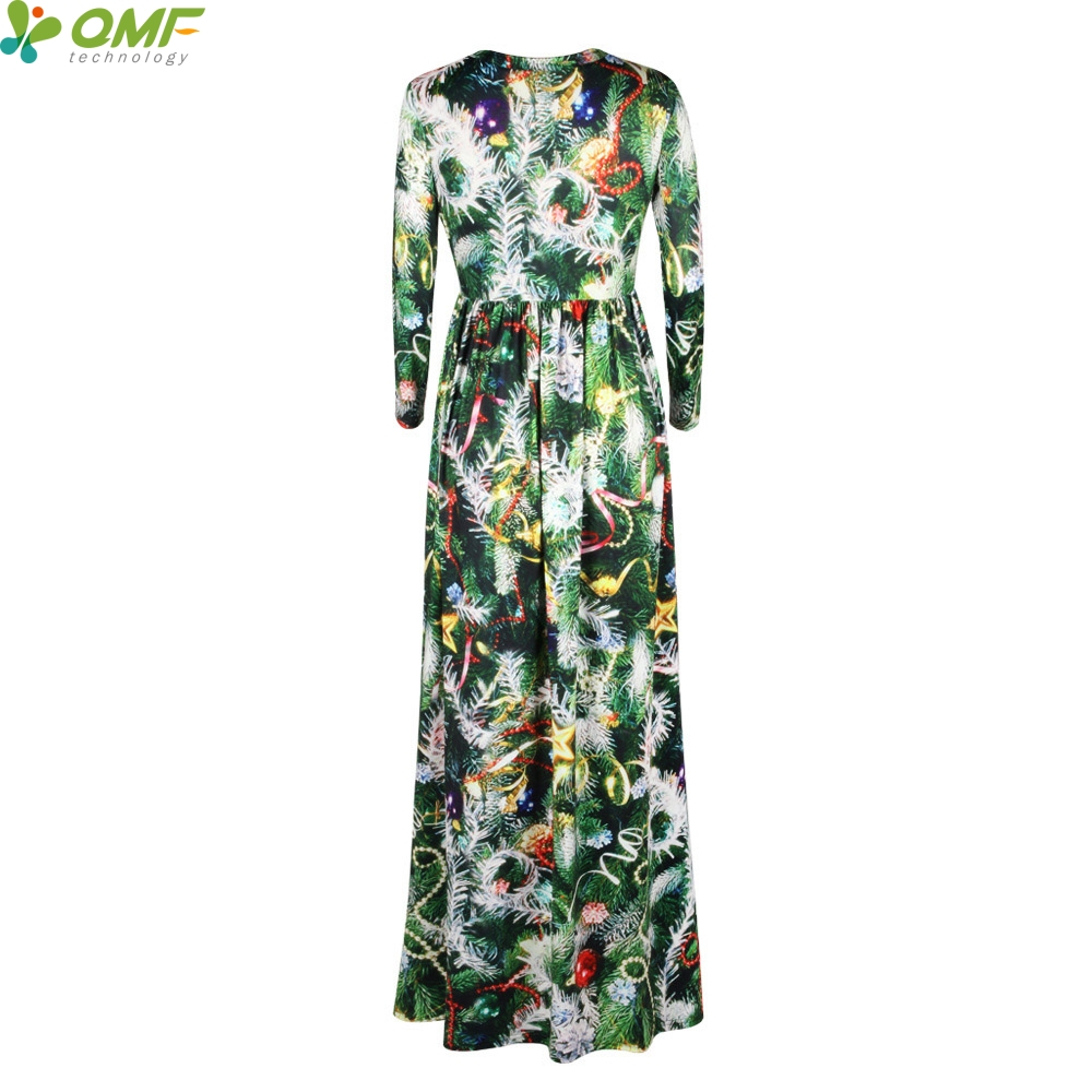 Green Christmas Tree Print Tennis Long Dress Holiday Party Maxi Dresses  Christmas Floral Vintage Women Vestidos Floor Length-in Tennis Dresses from  Sports ... 15ba11639042