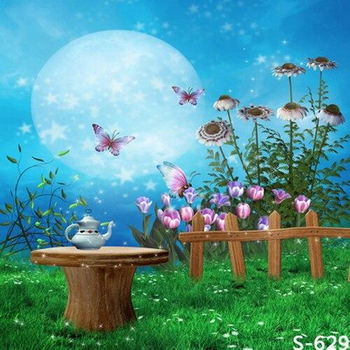 10x10ft Blauw Sky Moon Vlinder Hout Hek Theepot Tafel Groen Yard Custom Fotografie Achtergronden Studio Achtergrond Vinyl 8x8 8x10