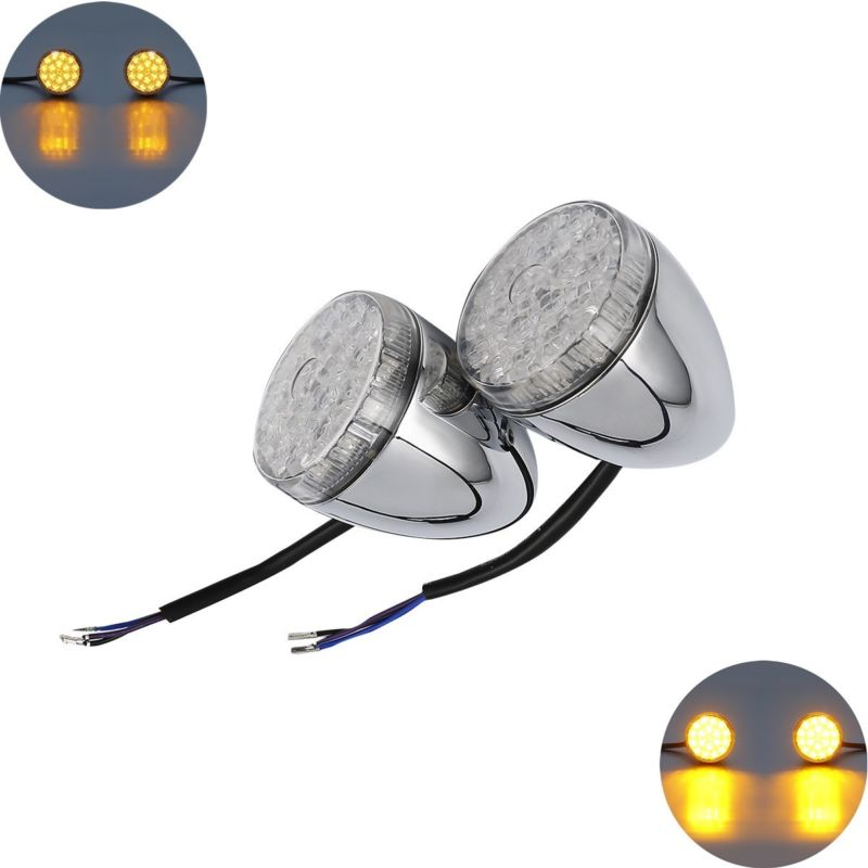 Led Bullet Front Turn Indicator Lights Set For Harley Touring Street Road Tri Glide Ultra Limited Flhx Flhtk 14-18 Pleasant To The Palate Home