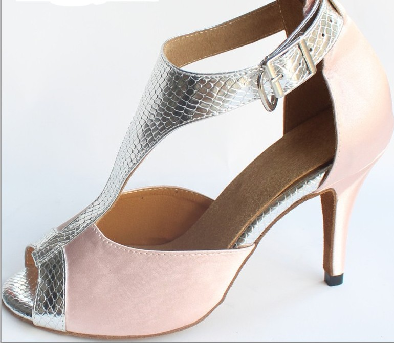 Promotion Pink Satin Snakeskin Print T-Straps Shoes for Ballroom Latin Dancing Salsa Shoes Size 35,36,37,38,39,40,41