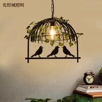 Walnut plant chandelier retro industrial wind bar bar restaurant bird cage chandelier loft wrought iron bird chandelier